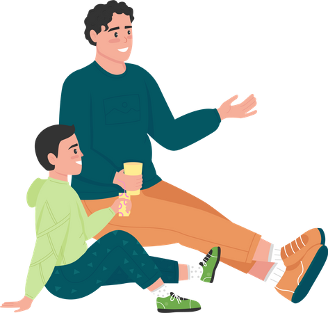 Family on picnic Illustration