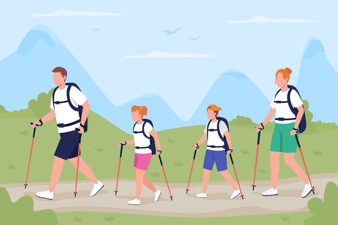 Family on trekking trip Illustration