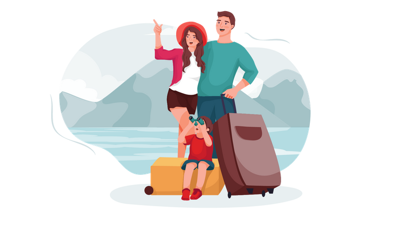 Family on vacation tour Illustration