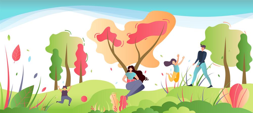 Family Outdoors Activities Illustration