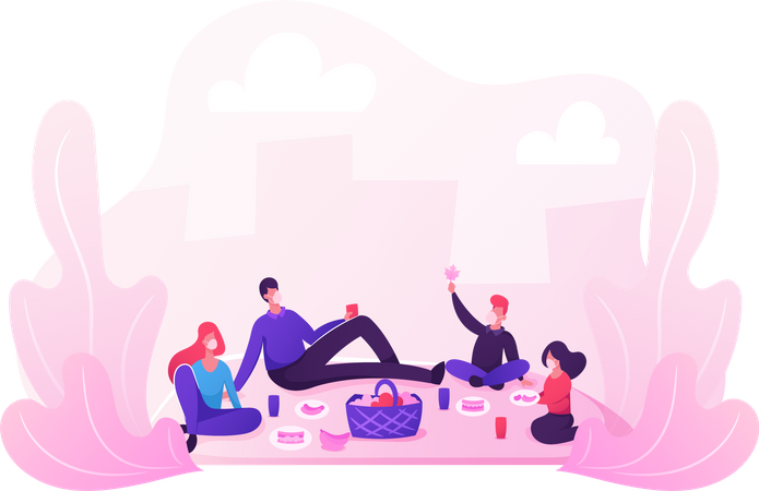 Family Picnic Outdoors during Covid19 Pandemic Illustration