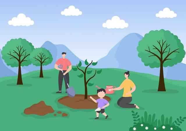 Family Planting Trees Illustration