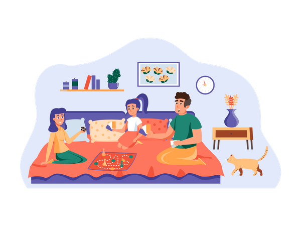 Family playing board game Illustration