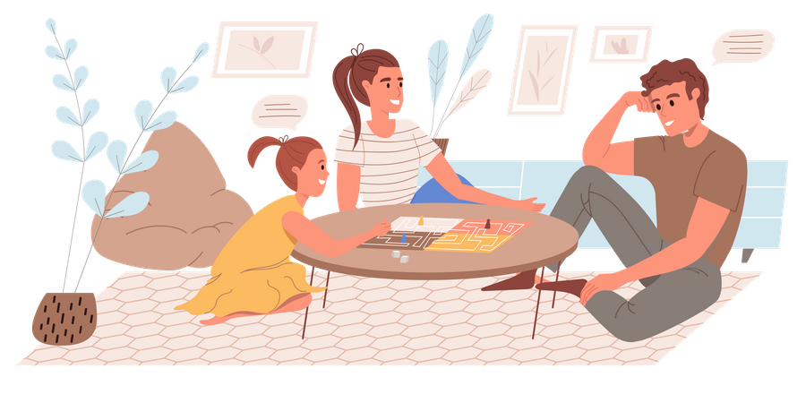 Family Playing Board Game In The Living Room Illustration