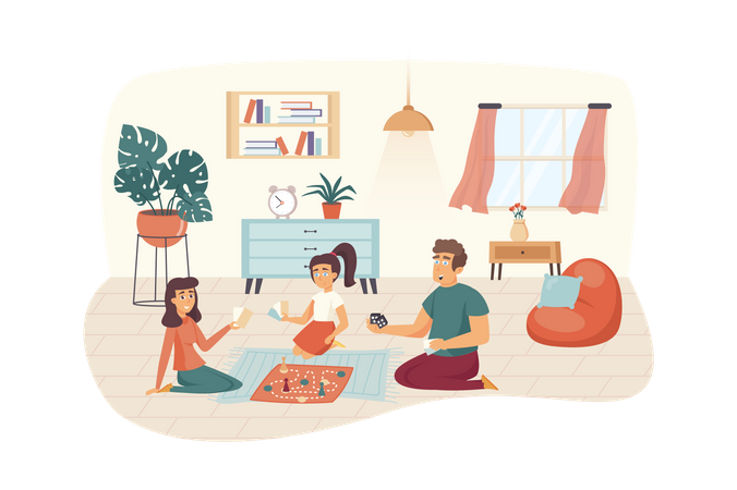 Family playing board games at home Illustration