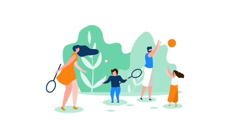 Family playing games in park Illustration