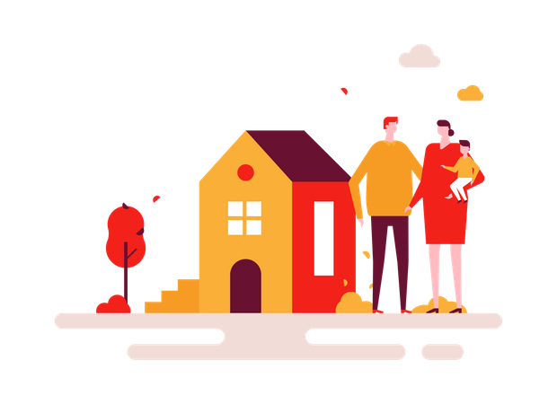 Family purchasing new home Illustration