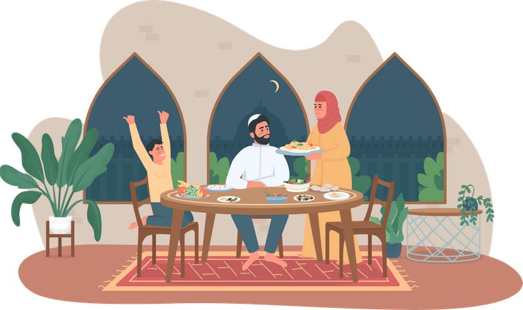 Family ramadan meal Illustration