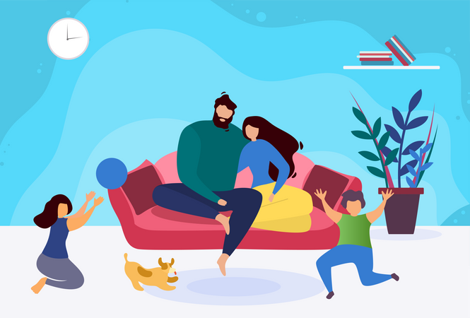 Family Relaxing on holiday at home Illustration