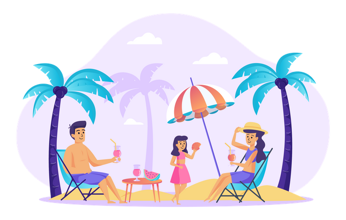 Family resting at beach Illustration
