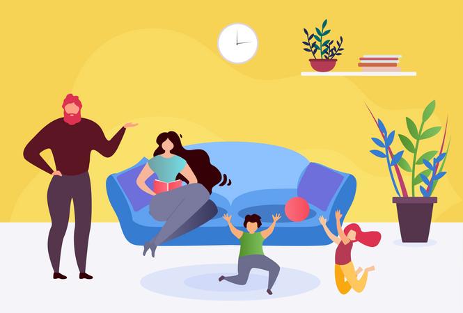 Family Resting at Home Together Illustration