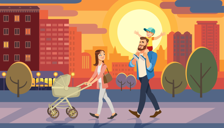 Family returning home at sunset time Illustration