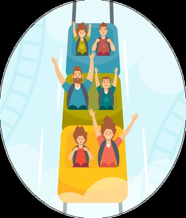 Family Riding Roller Coaster in Amusement Park Illustration