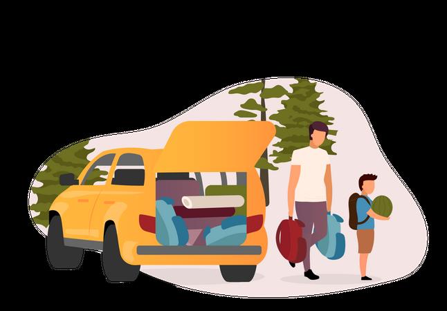 Family road trip Illustration