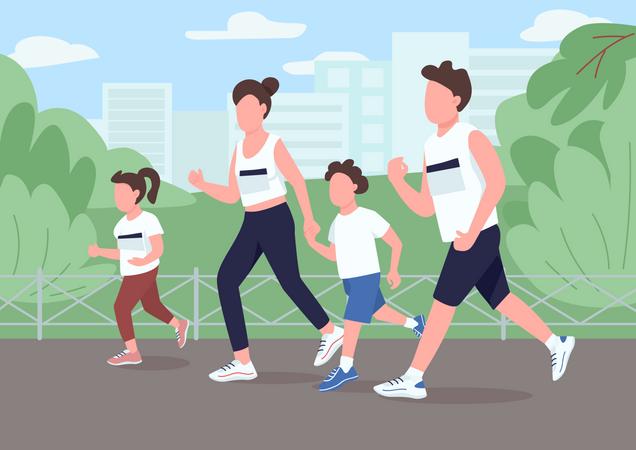 Family run marathon Illustration