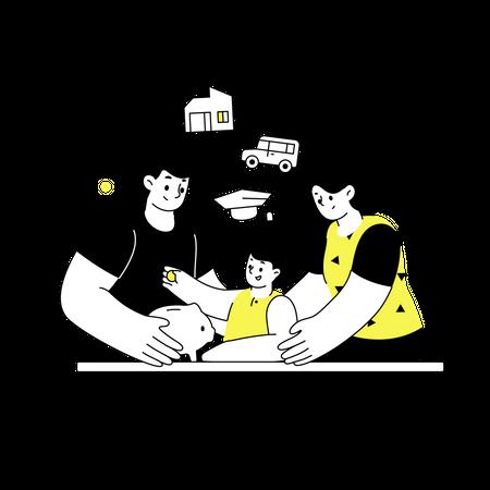 Family saving money for future needs Illustration