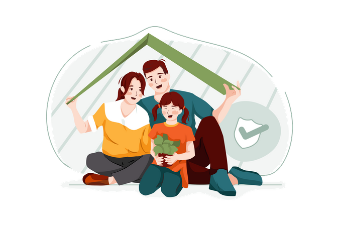 Family secured with life insurance Illustration