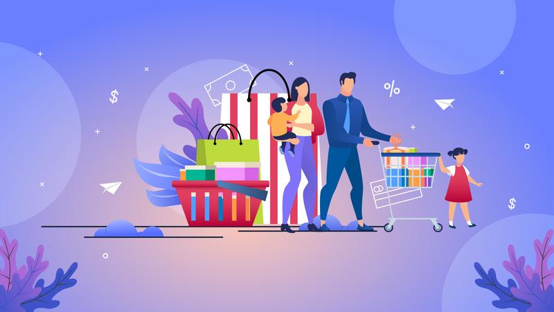 Family Shopping Illustration