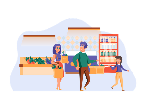 Family shopping for groceries and vegetables Illustration