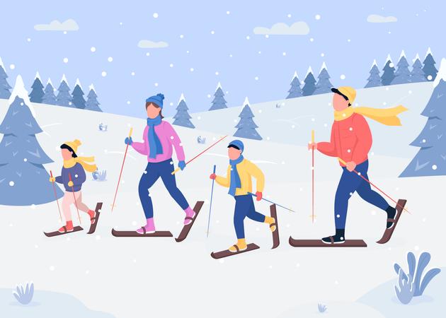 Family skiing Illustration
