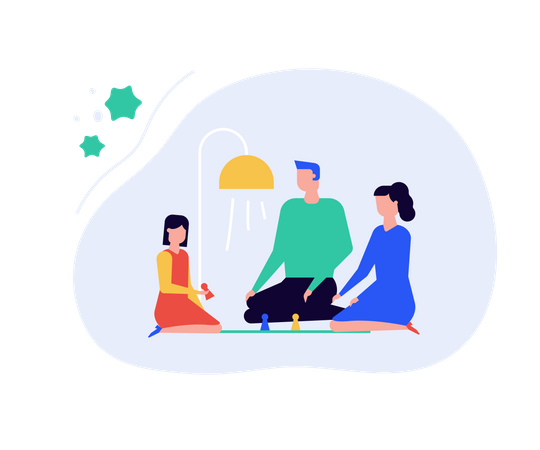 Family staying at home Illustration