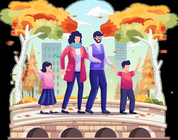 Family taking a walk Illustration