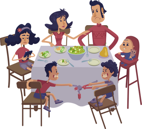 Family together having meal Illustration