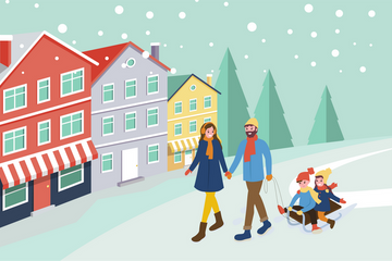 People In Winter Season Illustration Pack