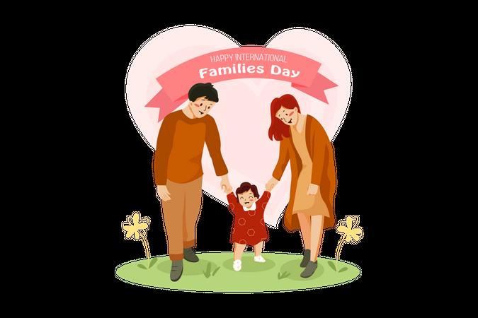 Family visiting park Illustration