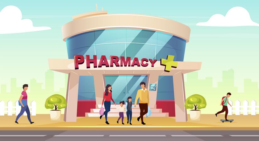 Family visiting pharmacy store Illustration