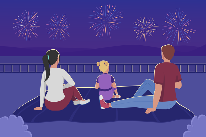Family watching fireworks Illustration