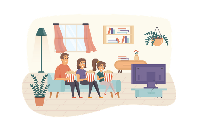 Family watching television together Illustration