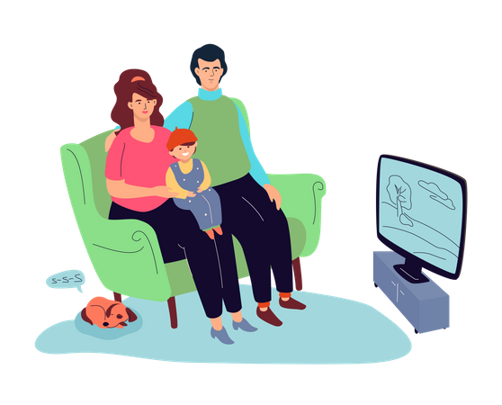 Family watching TV Illustration