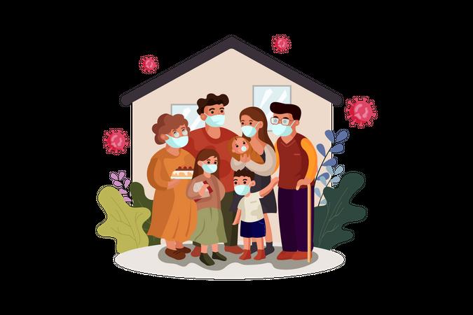 Family wearing face mask Illustration
