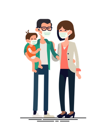 Family wearing facemask Illustration