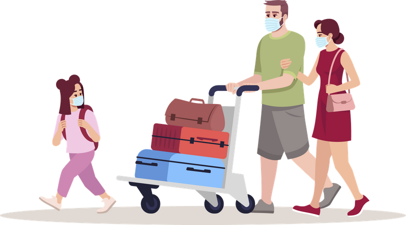 Family wearing mask and going for vacation Illustration