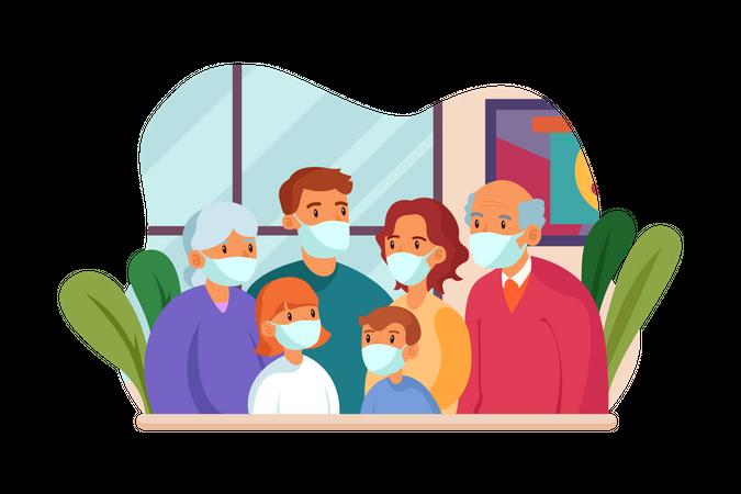 Family wearing mask standing together Illustration