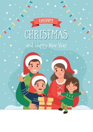 Family wishing Happy Christmas Illustration