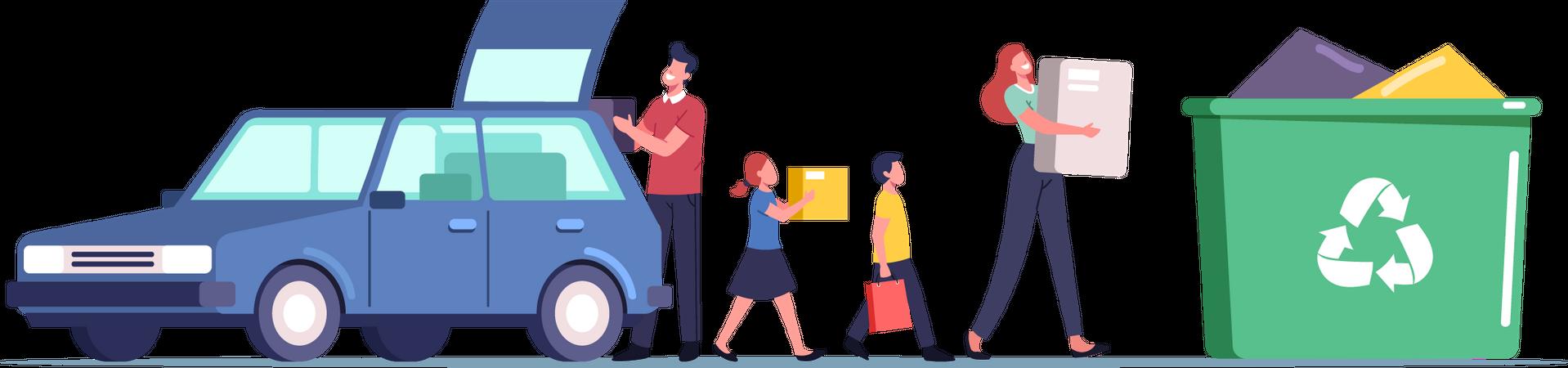 Family with Children Loading Goods from Car to Litter Bin Illustration