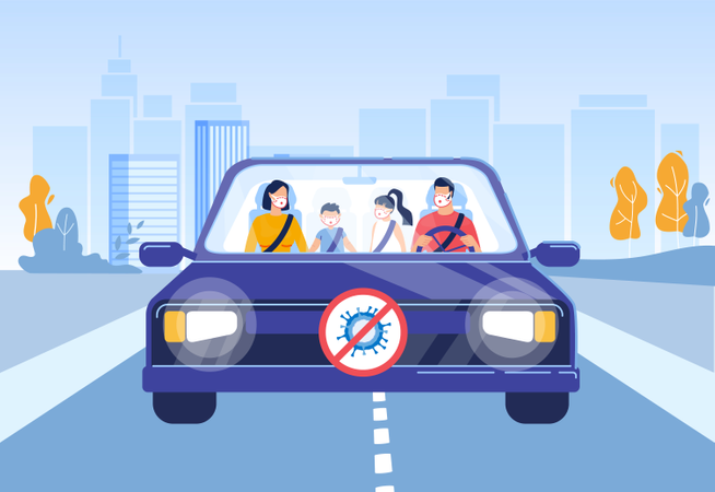 Family with Kid Road Trip during Covid-19 Pandemic Illustration