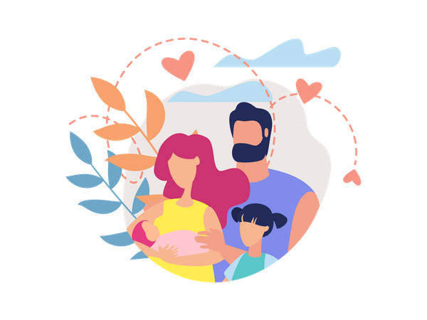 Family with new born baby Illustration