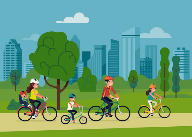 Family with three kids riding bicycles in city park Illustration