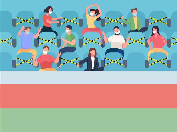 Fans sitting on stadium Illustration