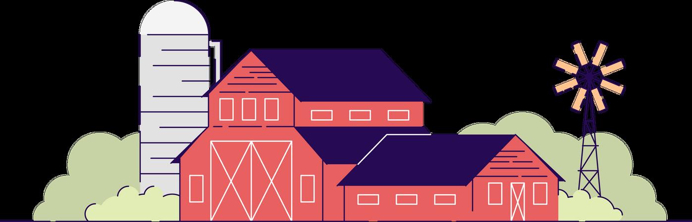 Farm barns Illustration