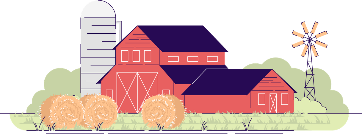 Farm barns with hay bales Illustration