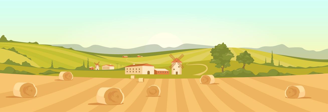 Farm In Countryside Illustration