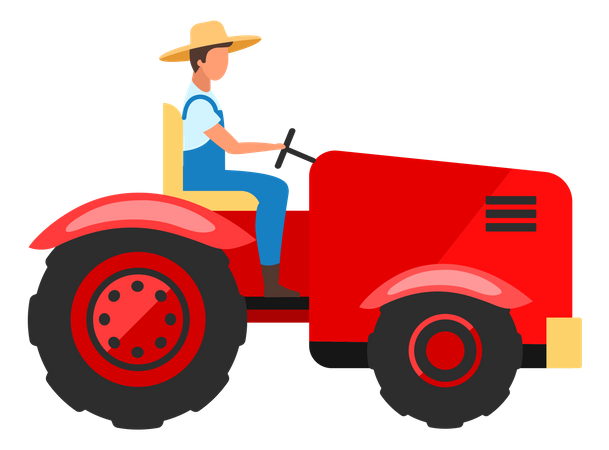 Farm worker driving tractor Illustration