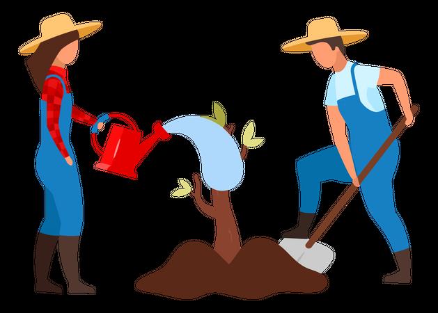 Farmer couple planting small tree Illustration
