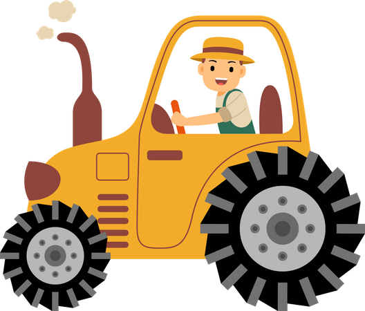 Farmer driving his tractor into farm filed Illustration