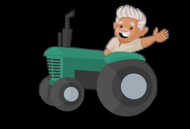 Farmer driving tractor Illustration
